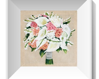 Anniversary Illustration wedding, bridal bouquet painting, Custom Wedding Bouquet, Personalized Wedding Gift for her, linen anniversary gift