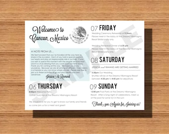 Mexico Destination Wedding Welcome Bag Weekend Itinerary, Printable Itinerary For Your Wedding or Any Special Event, Itinerary any Location