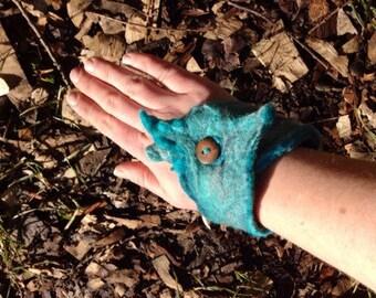 Arm Cuff, Blue Felted merino wool, wrist wrap, arm warmer, hand felted wearable art