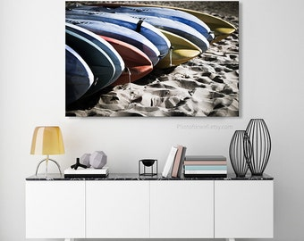 Surfboard fine art photography, surf board Bathroom Decor beach Photography, Bathroom Art, blue red yellow large wall art, Beach Wall Decor
