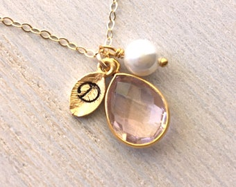 Blush Pearl Necklace, Initial Teardrop Pearl Necklace, Blush Bridesmaids Necklace, Personalized Pearl Necklace