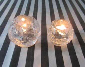 ANN WARFF - Kosta Boda Snowball - Set of two clear glass/crystal votive candle holders - One large one small - Made in Sweden - 1970s