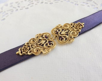 Dark Purple Elastic Waist Belt. Gold Filigree Vintage Style Buckle. Bridal/ Bridesmaid Wedding Belt.