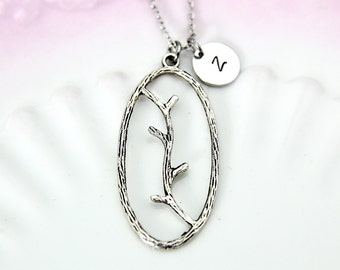 Twig Charm Necklace, Silver Twig Branch Charm, Twig Charm, Tree Twig Charm, Tree Branch Charm, Best Friend Gift, Personalized Gift, N215