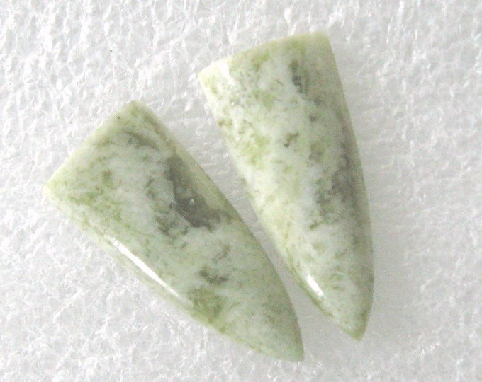 One long pair of Canadian Jade cabochons for earrings