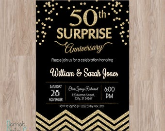 50th wedding anniversary invitations 50th anniversary surprise anniversary invitations 50th anniversary invitation anniversary party invitation black and gold fiftieth stopboris Image collections