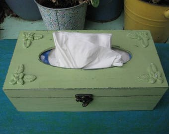 Green Tissue box, Shabby Chic wooden tissue box cover, napkin storage box