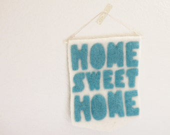 wall hanging // home sweet home / wool banner / wall pendant / home decor / banner / wall decor /  nursery wall decor / nursery decor