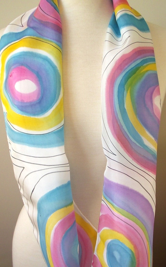 Hand Painted Silk Infinity Scarf, Rainbow Circles in Aqua, Blue, Mauve, Pink and Yellow with Black Lines, 9x60