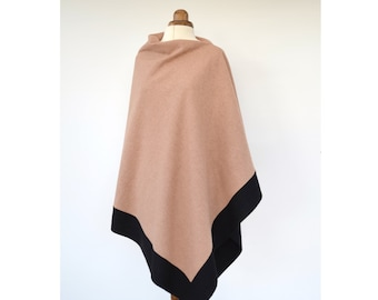 Wool Poncho, Asymmetrical Poncho, Champagne Wool Wrap, Colour Block Poncho Sweater, Black Wool Cape, Elegant Wool Wrap Shawl