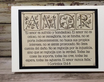 "Spanish Engagement / Marriage Greeting Card ~ ""El Amor es sufrido y bondadoso..."" Love / Amor Scripture ~ 1 Corinthians 13:4-8 ~ Gold"