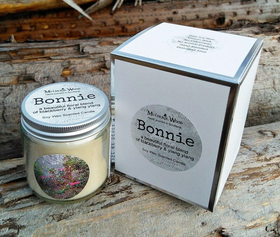 Bonnie Ylang Ylang and Blackberry Natural Soy Wax Handmade in Scotland Gift Boxed Glass Candle 30+ hours