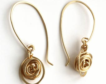 Gold Roses, Wired Roses Earrings, Special Gift