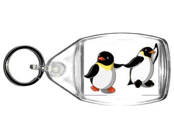 keyring double sided , cute penguins holding hands, keychain, keyfob novelty funny new keychain key ring