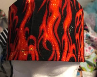 Red Flames Surgical cap