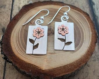 Flower Earrings, Hand Pierced and Sawn, Copper and Sterling silver Flower Earrings