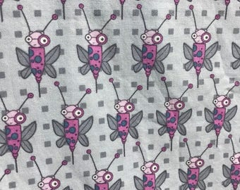 Garden Friends by Jay McCarroll Free Spirit Westminster Fibers Ivy League Bugs Fabric by the Yard Robot Bugs Pink and Gray Nursery Fabric