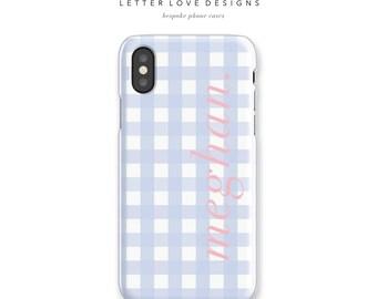 Gingham iPhone Case - iPhone 6s to iPhone 8 Plus Case or Samsung Galaxy S4 to Samsung Galaxy S8 Case, Personalized Phone Case