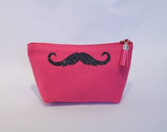 School Kit or makeup pink cotton with a mustache black