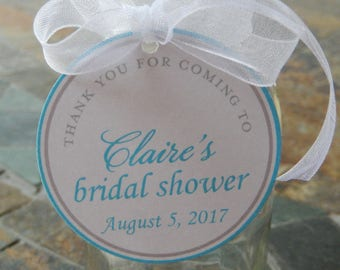 """50 - Bridal Shower custom 2"""" Thank You Favor Tags - for your Mini Wine, Champagne or Liquor Bottles - Mason Jar and Cookie Gifts"""
