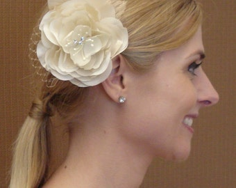Handmade Silk Hair Flower Made with Ivory, Champagne, and Gold Silk, French Net, Rhiestones and Stamens - Ready to Ship