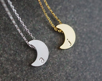 Personalized Crescent Moon Necklace, initial Necklace, Christmas gift, Dainty letter necklace, monogram jewelry, Bridesmaids gift Weddings