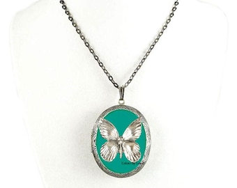 Butterfly Pill Box Necklace Inlaid in Hand Painted Teal Enamel Antique Silver Oval Locket Necklace with Color and Personalized Options