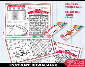 Pizza Party Placemat - Pizza Birthday Party, Activity Page, Crayon Box, Game Placemat - DIY Printable Kit INSTANT Download PDF
