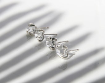 Herkimer diamond stud earrings   Rough stone earrings   Diamond quartz studs   Dainty studs   Dainty earrings   Raw stone studs   Edgy studs