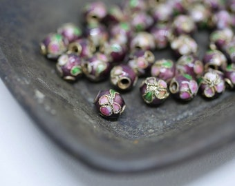 Chinese Cloisonne Beads 5.5mm Purple Cloisonne Bead Enamel Beads Metal Beads (8 beads) CL08