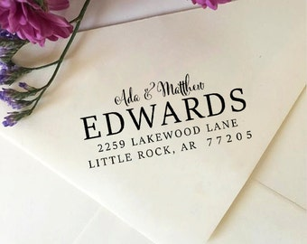 Address Stamp, Custom Return Address Stamp, Self-Inking Stamp, Wooden Rubber Stamp, Personalized Address Stamp, Wedding Address Stamp