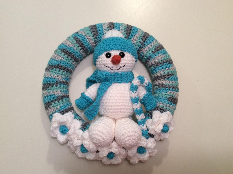 Snowman Winter Wreath tutorial - Snowman Wreath - amigurumi ...