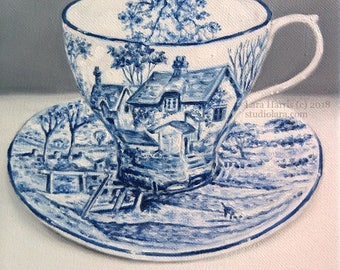 A Quaint Cup of Tea...Vintage Blue and White Toile Teacup Painting in OIL by LARA 8x8 cottage chinoiserie