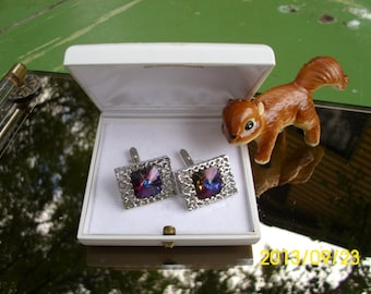 Vintage Bucherer-Mens Ornate Silver Cufflinks with Purple Stone-In Original Box-Wedding/Suit/Formal Occasion