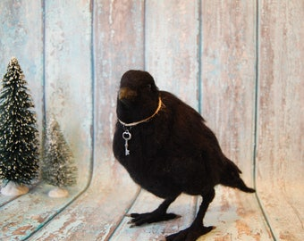 Needle Felted Crow Raven Animal ~ Wool Art Sculpture ~ Ready to Ship