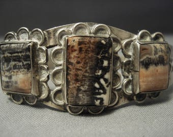"Early 1900's Vintage Navajo """"squared Petrified Wood"""" Silver Bracelet Old"