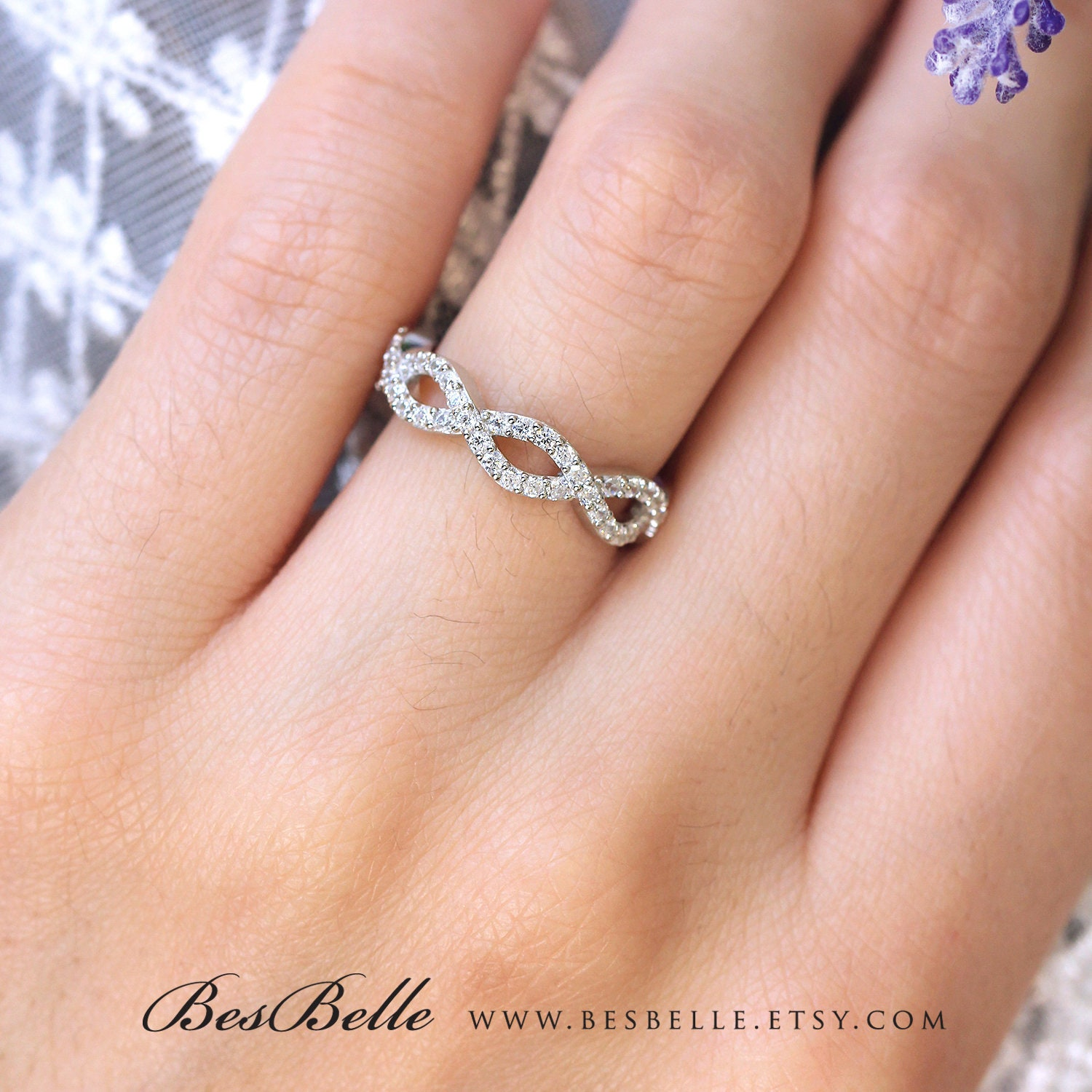 0.43 ct.tw Spiral Wedding Ring-Twisted Knot Half Eternity