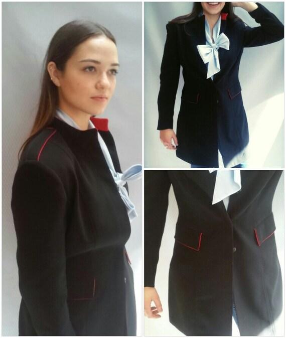 vtg 60s navy blazer long / red piping / Nehru collar / m