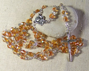 Catholic rosary in silver, five decade rosary in apricot Czech glass beads with AB (aurora borealis) finish