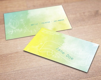 100 Custom Business Cards - A Splash of Color - Personalized Calling Cards with Doodled Flowers and Watercolor Background