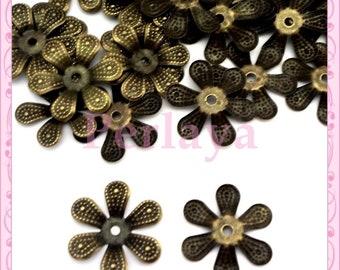 30 bead caps in antique bronze 1.6 cm REF2470
