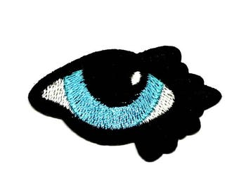 Blue Eye Patch, Single Blue Eye with Black Eye Lashes Iron on Patch, Eye Iron on Patch, All Seeing Eye