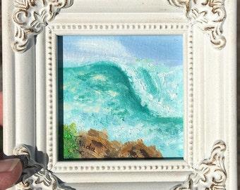 Ocean Wave mini painting. A beautiful mini oil painting of a Santa Barbara beach.
