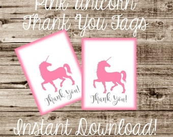 INSTANT DOWNLOAD Printable Unicorn Tags... Pink / DIY / Crafts / Party Tag / Goodie / Goody Bag / Digital Download / Birthday Party / Gift