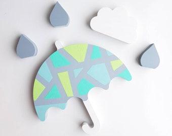 12cm wooden weather umbrella cloud raindrop set, nursery decor kids Bedroom room ornaments baby hand made customised