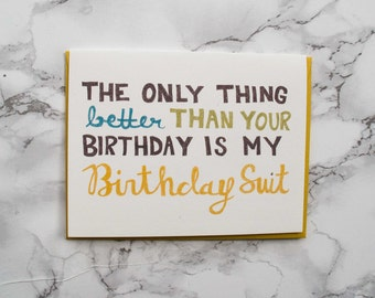 Funny Adult Birthday Card Boyfriend.  Eco Friendly Card. 100% Cotton Paper. Naughty