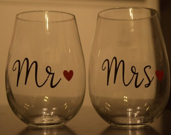 Personalized Mr. and Mrs. Stemless Wine Glasses