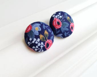 Roses earrings - Blue and pink stud earrings floral - Giant fabric button earrings - Botanical jewelry - Recycled jewelry - Made in Canada