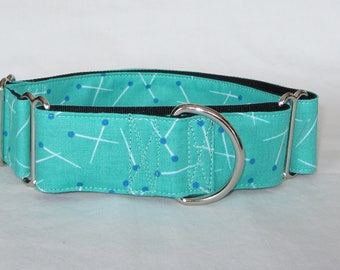 Pins and Needles Martingale Dog Collar - 1.5 or 2 Inch - teal blue turquoise sewing fun
