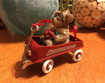 Radio Flyer Vintage Christmas Ornament Red Wagon With Teddy Bear